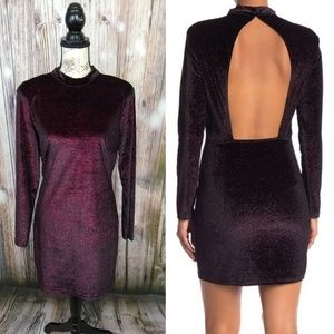 Mello Day Sparkle Open Back Long Sleeve Dress Lg